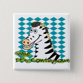 Smile It's Contagious Zebra Button
