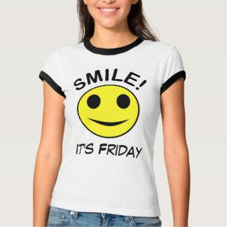 Smile its friday ladies ringer shirt