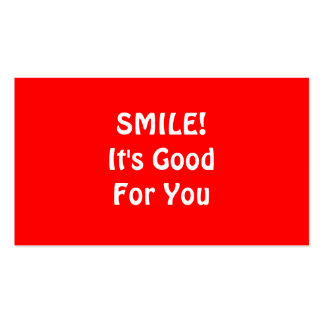 SMILE! It's Good For You. Red. Double-Sided Standard Business Cards (Pack Of 100)