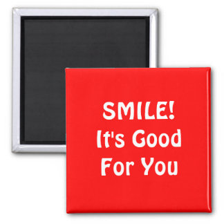 SMILE! It's Good For You. Red. Refrigerator Magnets