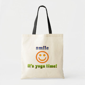 Smile It's Yoga Time! Health Fitness New Age Budget Tote Bag