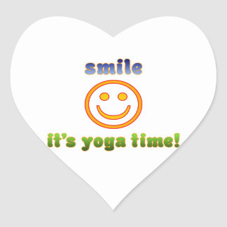 Smile It's Yoga Time! Health Fitness New Age Heart Sticker