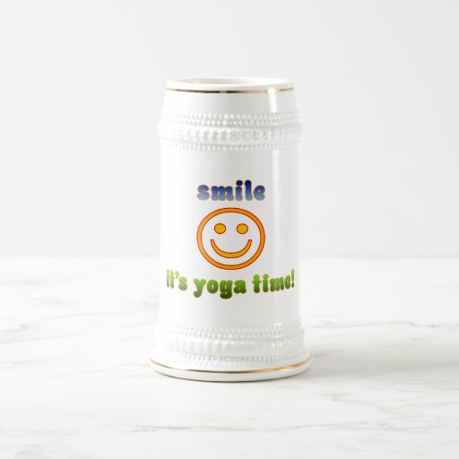 Smile It's Yoga Time! Health Fitness New Age 18 Oz Beer Stein