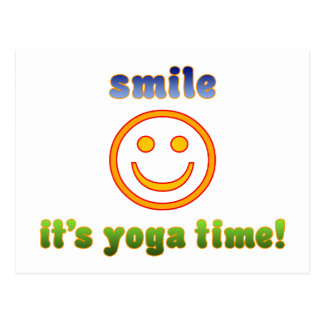 Smile It's Yoga Time! Health Fitness New Age Postcards