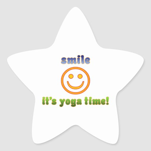 Smile It's Yoga Time! Health Fitness New Age Star Sticker