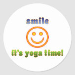 Smile It's Yoga Time! Health Fitness New Age Sticker
