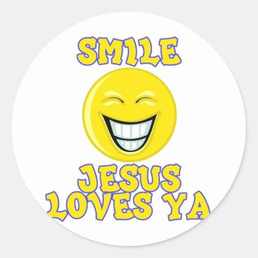 Smile Jesus Loves Ya Sticker