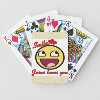 SMILE JESUS LOVES YOU BICYCLE PLAYING CARDS