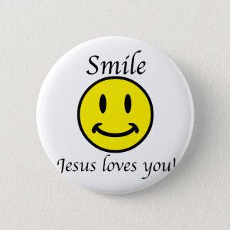 Smile, Jesus loves you Button