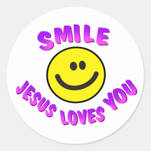 Smile, Jesus Loves You Classic Round Sticker