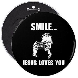 Smile Jesus Loves You Pinback Button