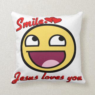 SMILE JESUS LOVES YOU THROW PILLOW