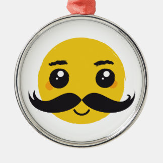 Smile Kawaii Mustache Metal Ornament