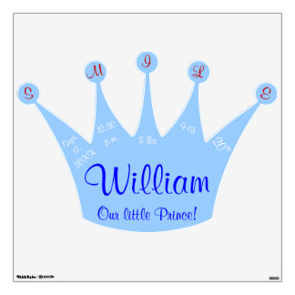 Smile Little Prince Blue Crown Baby Stats Wall Sticker