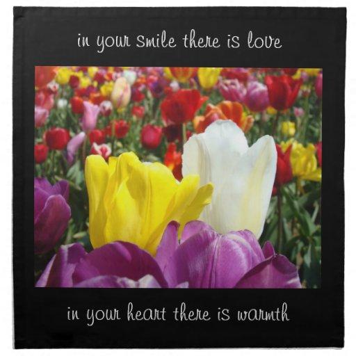 Smile Love Heart Warmth Napkins cloth Tulip Flower