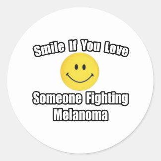 Smile...Love Someone Fighting Melanoma Classic Round Sticker