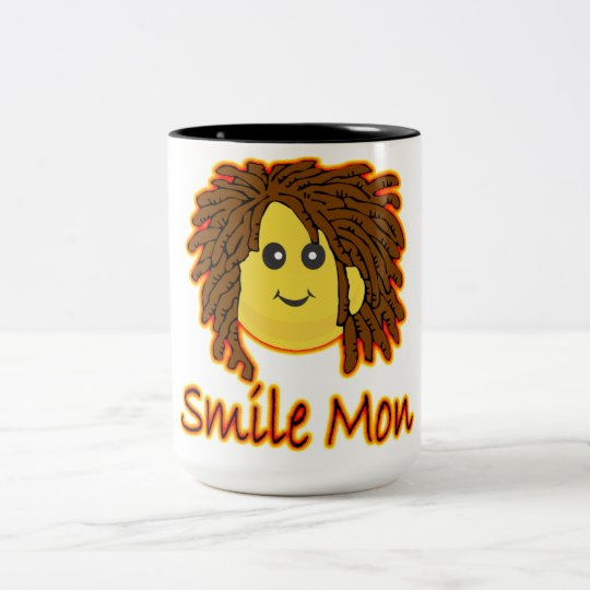 Smile Mon Fire Rasta Smiley Face Two-Tone Coffee Mug
