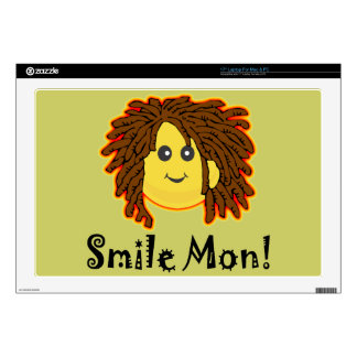 "Smile Mon! Rasta Smiley Face Decals For 17"" Laptops"