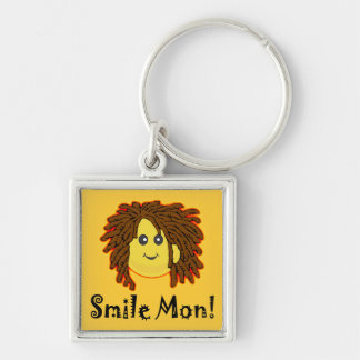 Smile Mon! Rasta Smiley Face Keychain