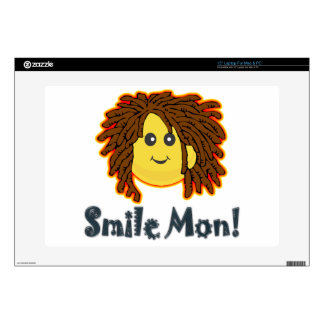 "Smile Mon Rasta Smiley Face Nuts Bolts 15"" Laptop Skin"