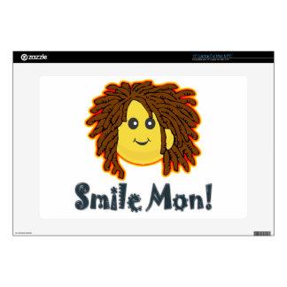 "Smile Mon Rasta Smiley Face Nuts Bolts 15"" Laptop Skin"