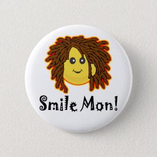 Smile Mon! Rasta Smiley Face Pinback Button
