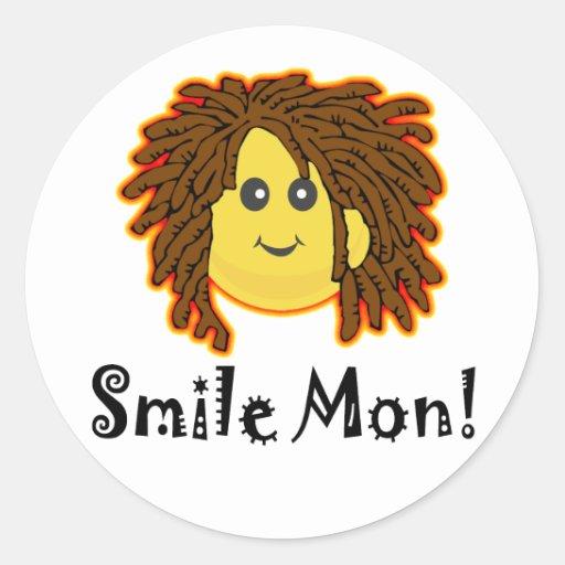 Smile Mon! Rasta Smiley Face Round Sticker