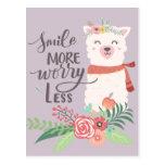 Smile More Llama Postcard