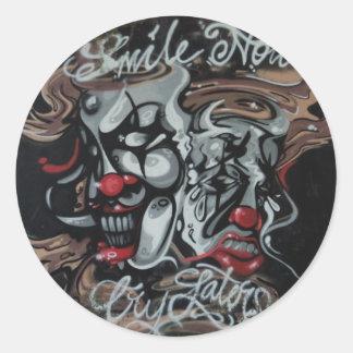 Smile now pegatina redonda