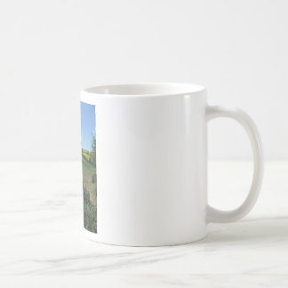 Smile of a horse front of a rape field classic white coffee mug