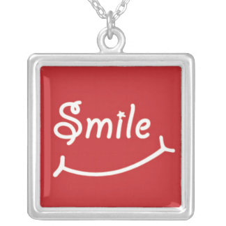 Smile on Red Silver Plated Necklace
