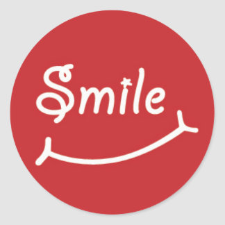 Smile on Red Classic Round Sticker