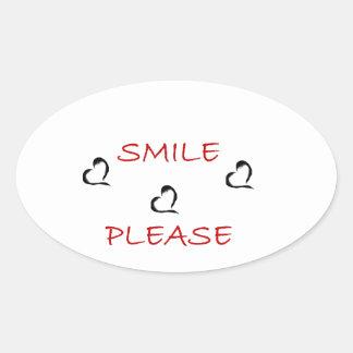 Smile Please Oval Sticker