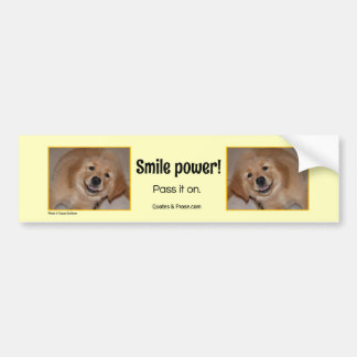 Smile Power! Smiling golden puppy. Bumper Sticker
