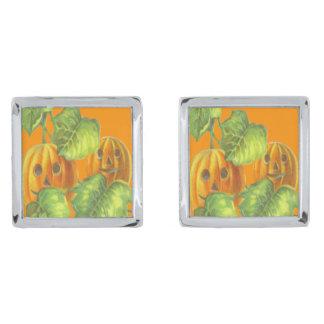 Smile Pumpkin Vine Vines Jack O Lantern Silver Finish Cufflinks