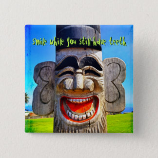 """""""Smile"""" quote funny laughing teeth face photo Pinback Button"""