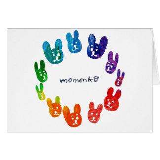 smile rabbits circle rainbow greeting cards