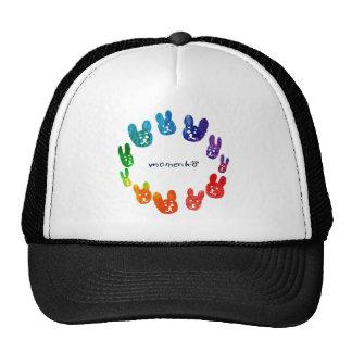 smile rabbits circle rainbow trucker hat