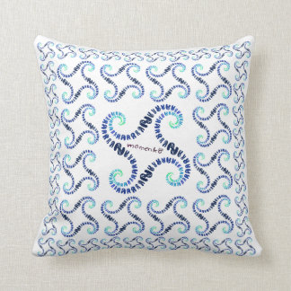 smile rabbits spiral blue throw pillow