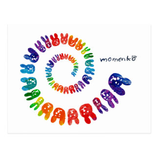 smile rabbits spiral rainbow post cards