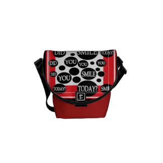 SMILE RED BLACK MESSENGER BAG