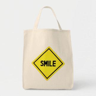 Smile Road Sign Tote Bag