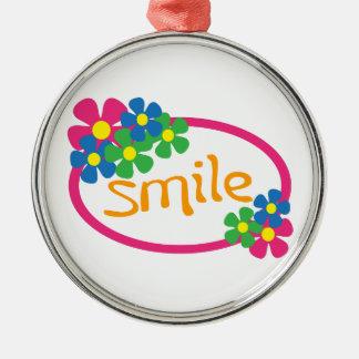 Smile Round Metal Christmas Ornament
