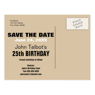 Smile - Save the Date 25th Birthday Postcard