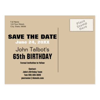 Smile Save the Date 65th Birthday Postcard