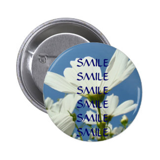 SMILE SMILE Button Blue Sky White Daisy Flowers