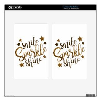 SMILE SPARKLE SHINE, GOLDEN GLITTER STAR KINDLE FIRE SKINS