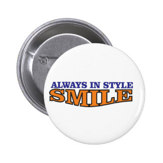 smile style orange pinback button