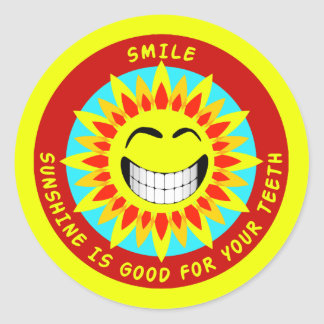 Smile Sunshine Is Good For Your Teeth Round Sticker