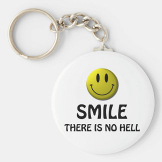 Smile, there is no hell. basic round button keychain